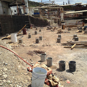 First Foundation bases poured and rebar reinforcement for retaining wall March 22, 2016